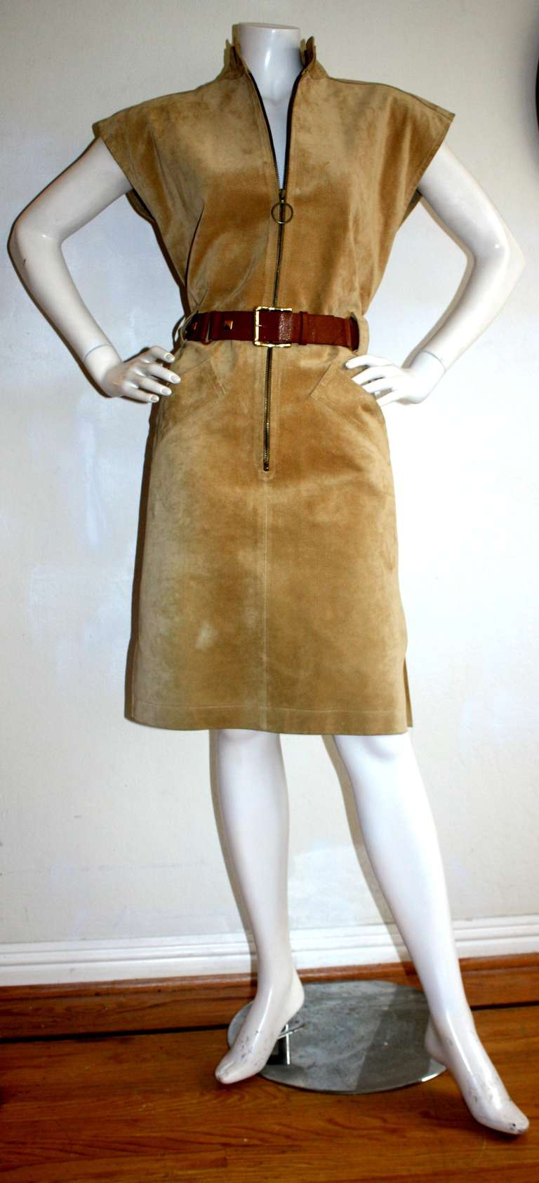 Yves Saint Laurent Vintage Pigskin Leather Suede Safari Dress 2