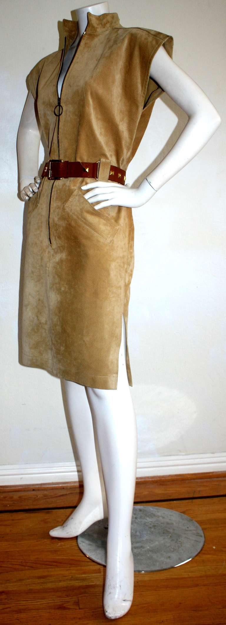 Yves Saint Laurent Vintage Pigskin Leather Suede Safari Dress 3