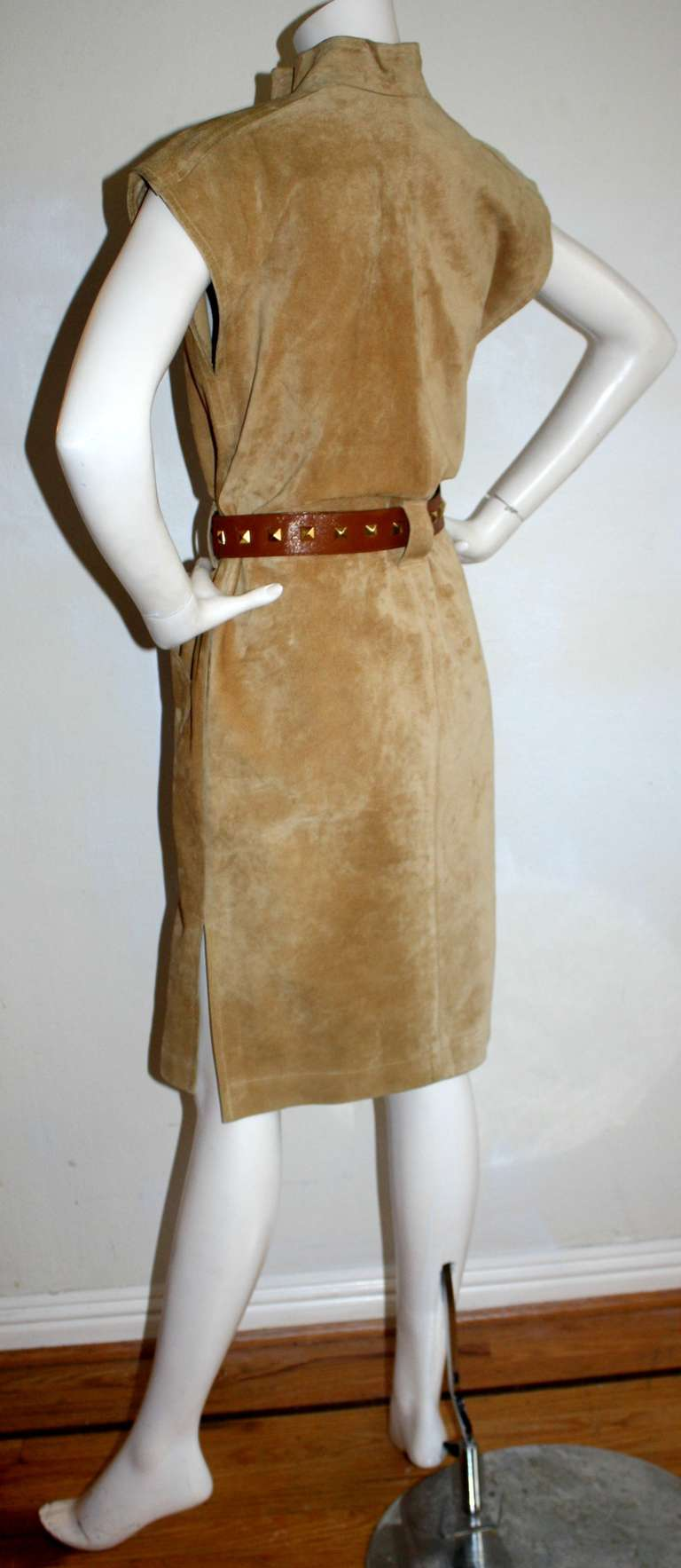 Yves Saint Laurent Vintage Pigskin Leather Suede Safari Dress 4