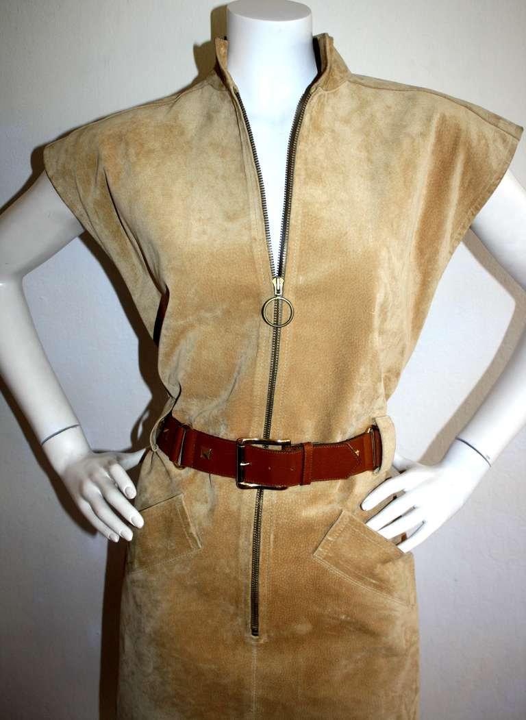 Yves Saint Laurent Vintage Pigskin Leather Suede Safari Dress 6