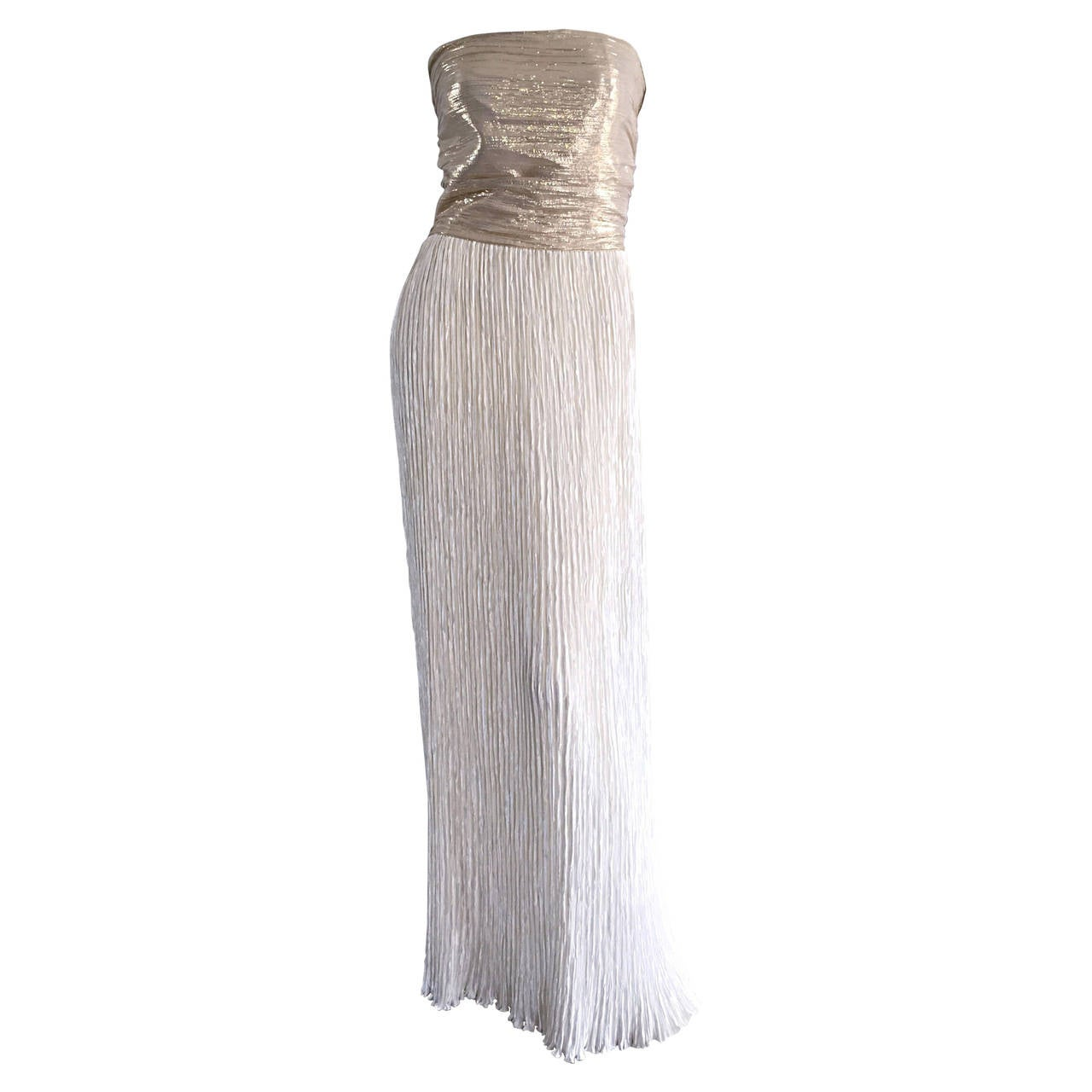 Stunning Vintage Mary McFadden Couture Gold + Ivory Fortuny Grecian ...