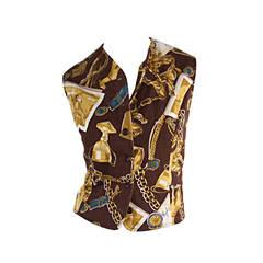 Vintage Trussardi ' Best in Show ' Novelty Dog + Trophy Cotton Vest Top