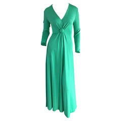 Rare Early 1970s Vintage Frederick's of Hollywood Kelly Green Jersey Maxi Dress
