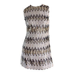 1960s All - Over Sequin Gold + Silver + White Zig Zag Vintage A - Line 60s Dress
