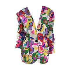 Amazing Vintage Emanuel Ungaro ' Guitars + Hearts ' Colorful Silk Blazer Jacket