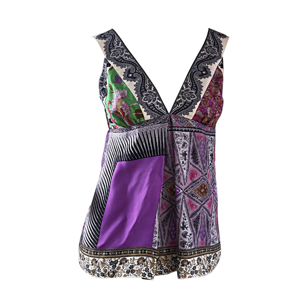Beautiful Etro Multi - Print Silk Patchwork Babydoll Empire Waist Blouse Top