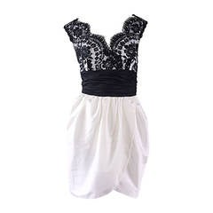 Vintage Victor Costa Black + White Silk Taffeta Lace Cocktail Dress