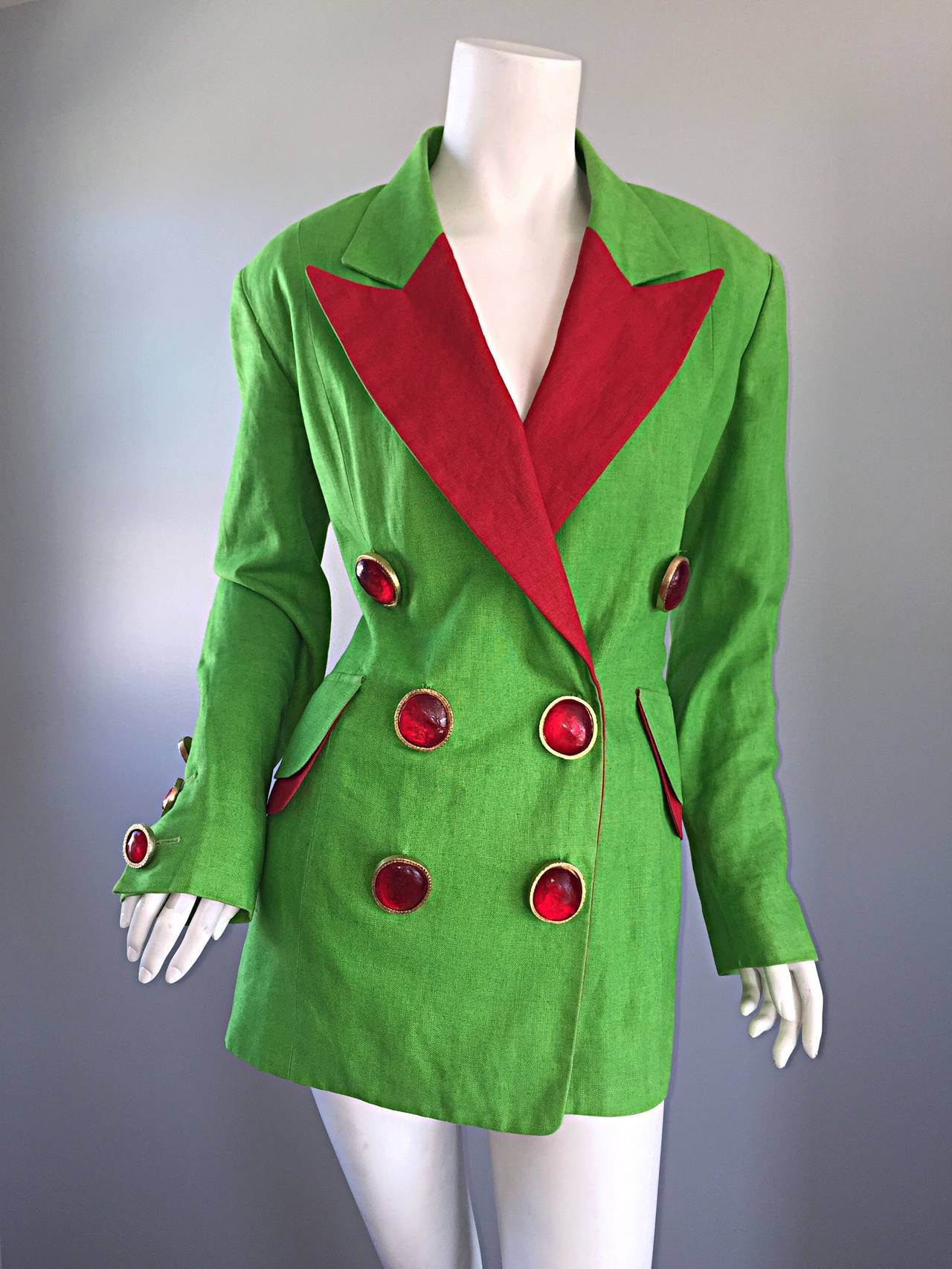 Women's Incredible Vintage Gemma Kahng Green + Red Blazer w/ Gripoix Buttons For Sale