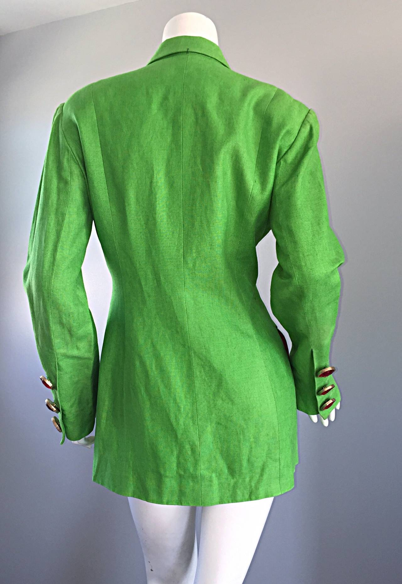 Incredible Vintage Gemma Kahng Green + Red Blazer w/ Gripoix Buttons For Sale 1