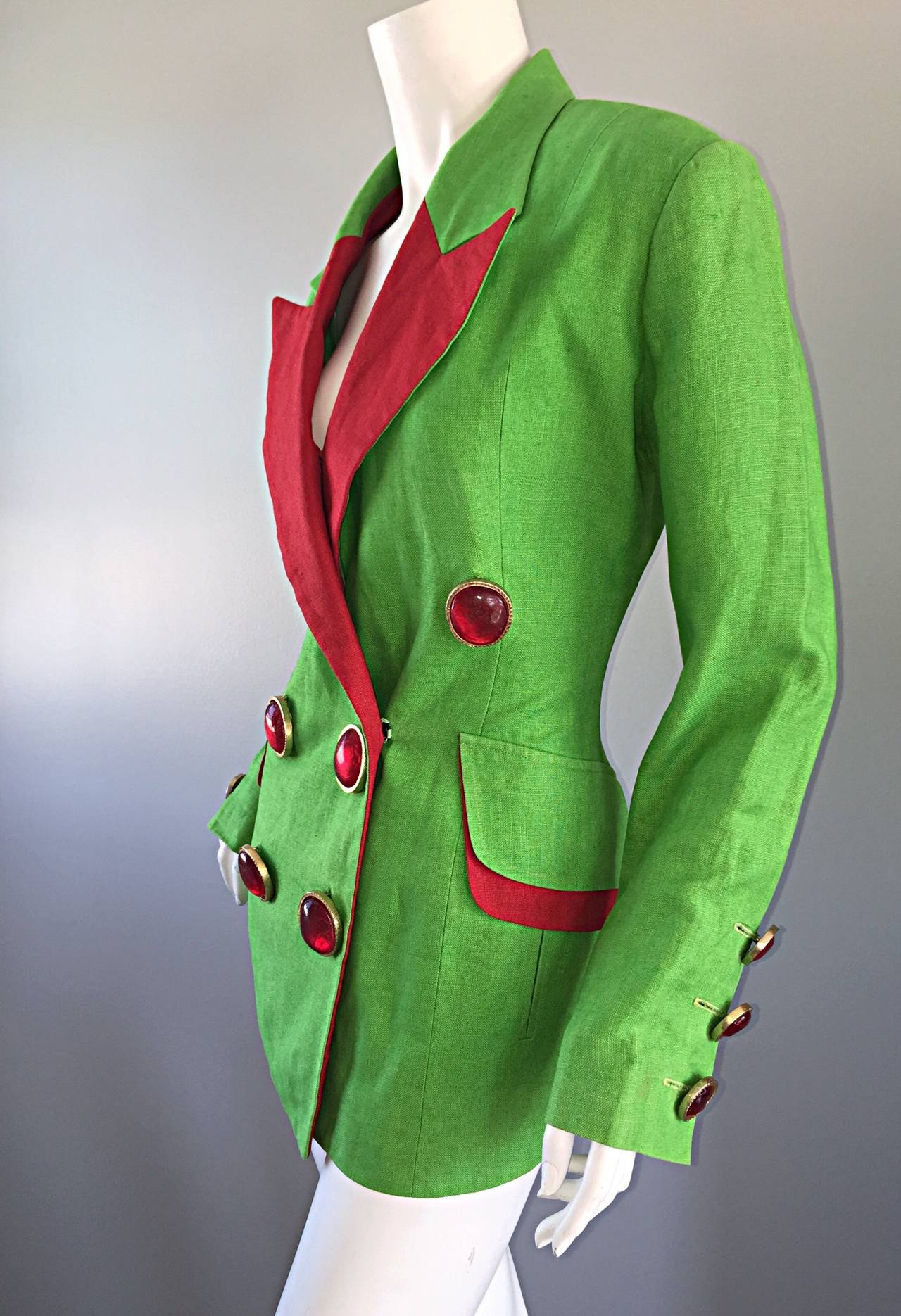 Incredible Vintage Gemma Kahng Green + Red Blazer w/ Gripoix Buttons For Sale 3