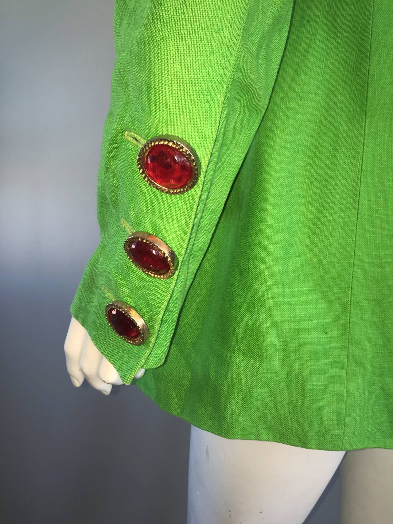Incredible Vintage Gemma Kahng Green + Red Blazer w/ Gripoix Buttons For Sale 4