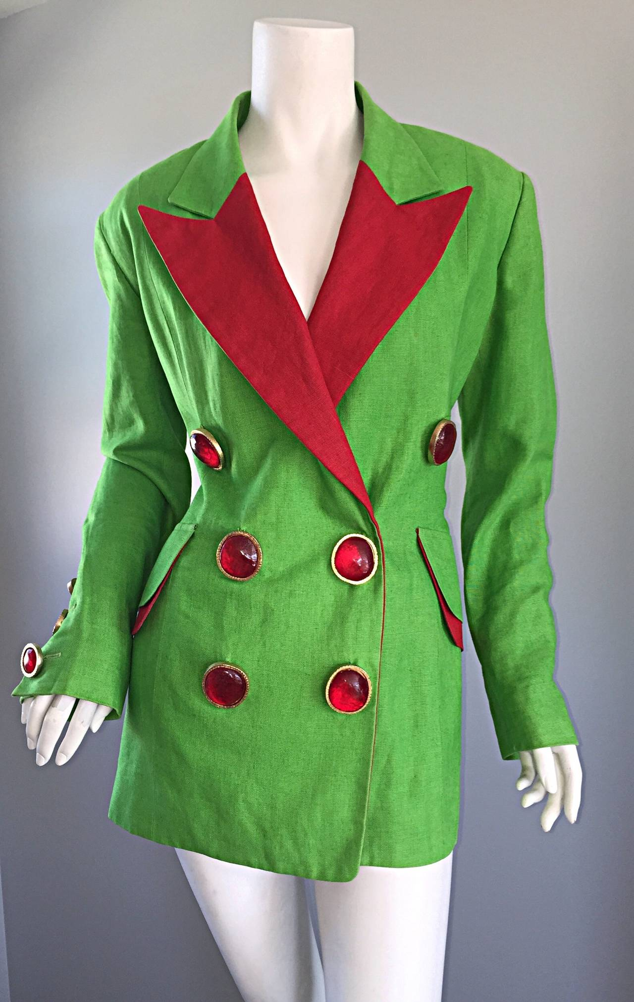Incredible Vintage Gemma Kahng Green + Red Blazer w/ Gripoix Buttons For Sale 5
