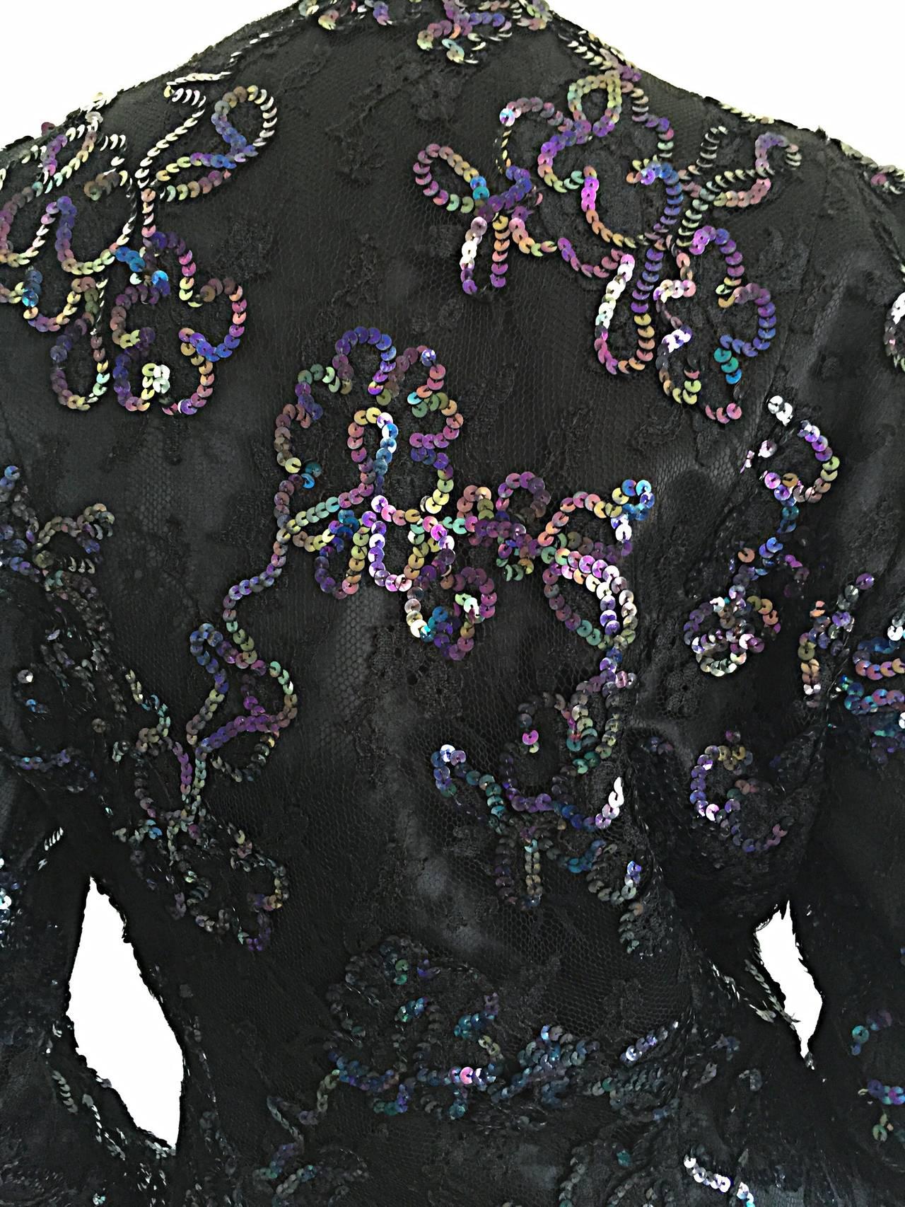 Women's Beautiful Vintage Joanna Mastroianni Sequins and Lace Black Blazer Jacket For Sale