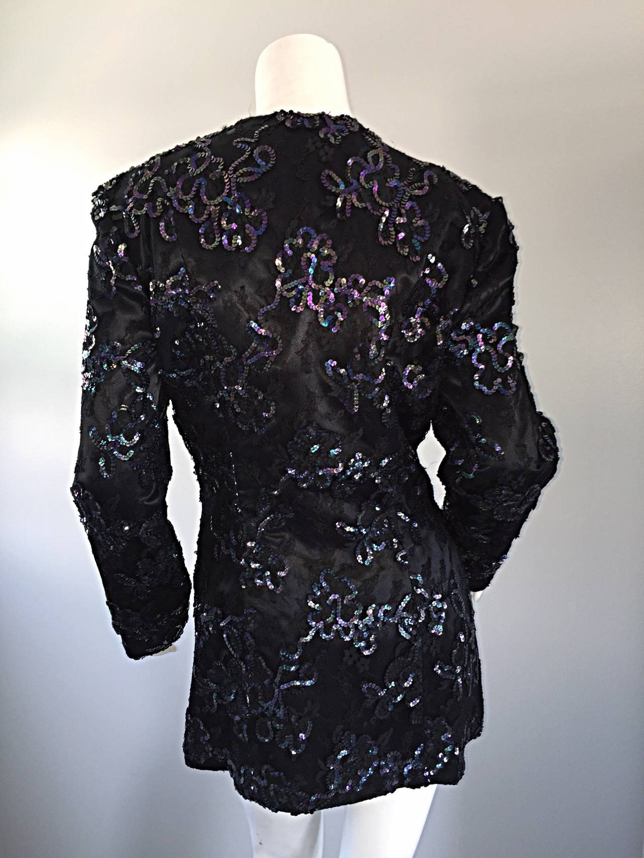 Beautiful Vintage Joanna Mastroianni Sequins and Lace Black Blazer Jacket For Sale 1