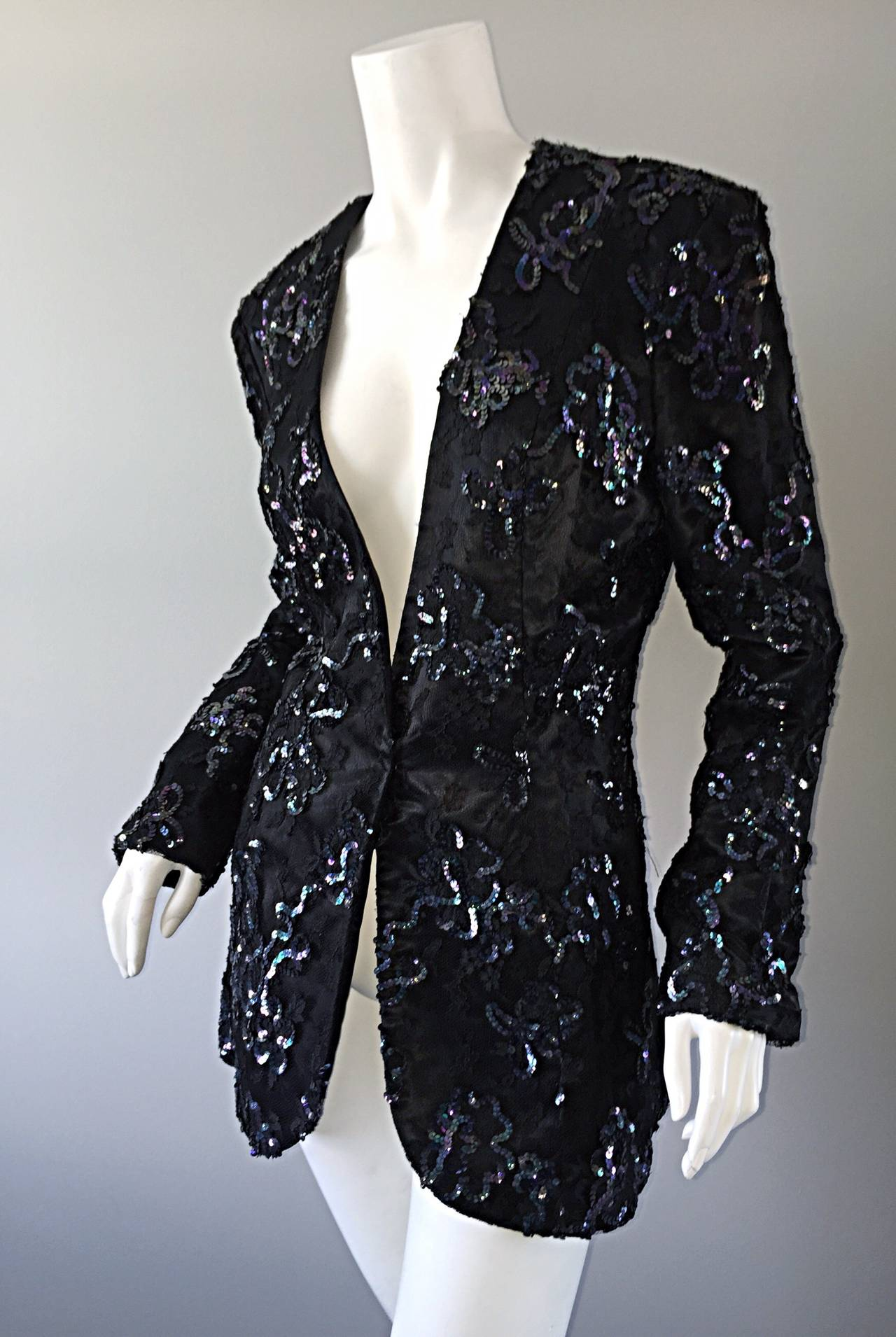 Beautiful Vintage Joanna Mastroianni Sequins and Lace Black Blazer Jacket For Sale 2