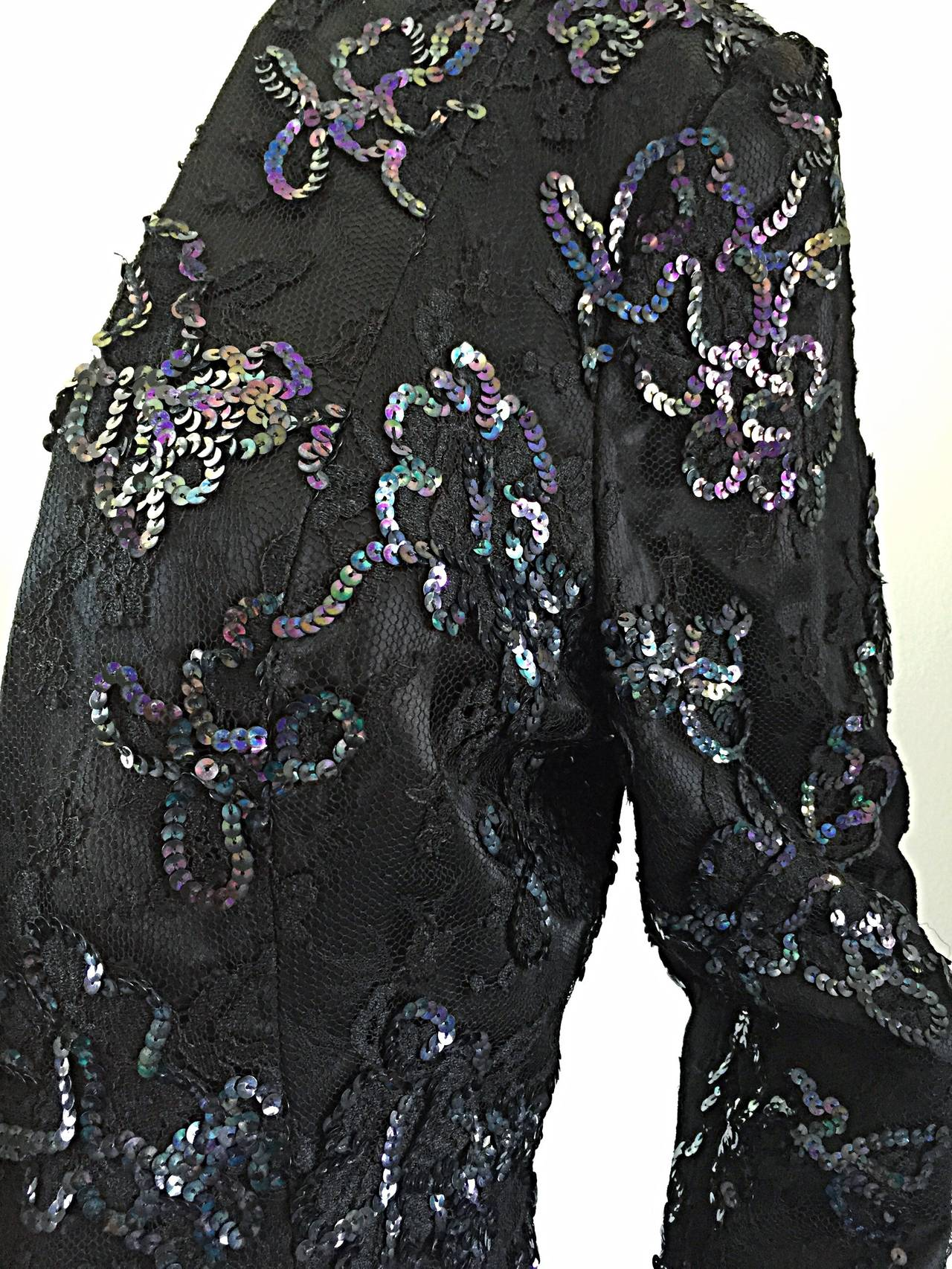 Beautiful Vintage Joanna Mastroianni Sequins and Lace Black Blazer Jacket For Sale 3