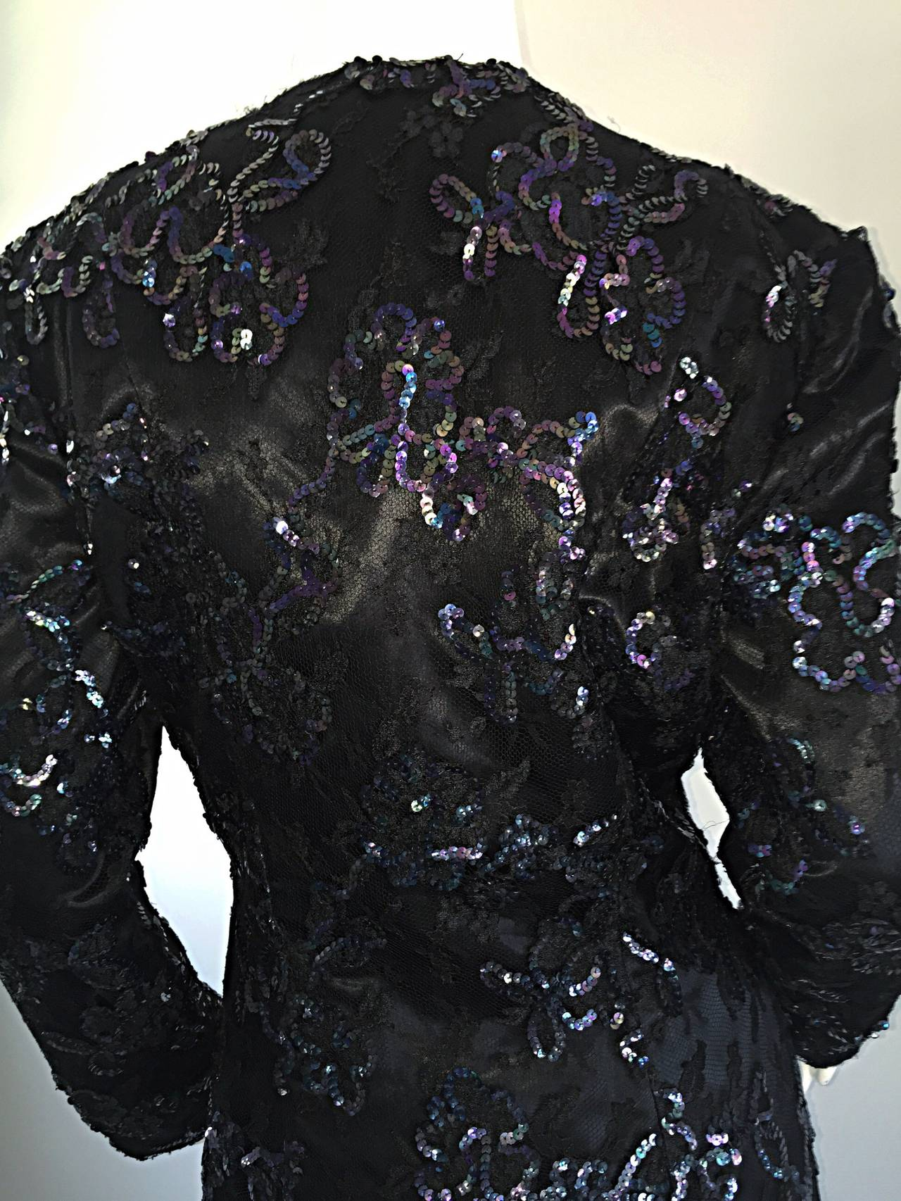 Beautiful Vintage Joanna Mastroianni Sequins and Lace Black Blazer Jacket For Sale 4