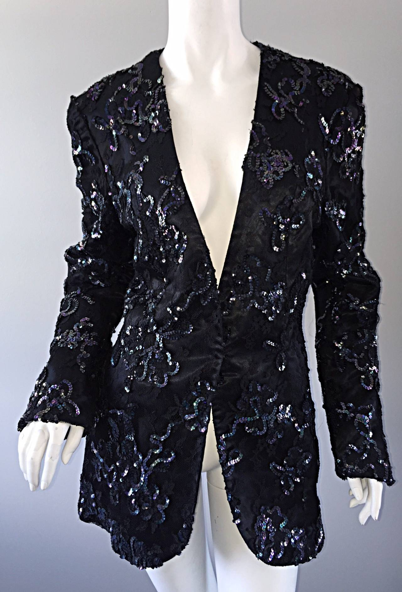 Beautiful Vintage Joanna Mastroianni Sequins and Lace Black Blazer Jacket For Sale 5