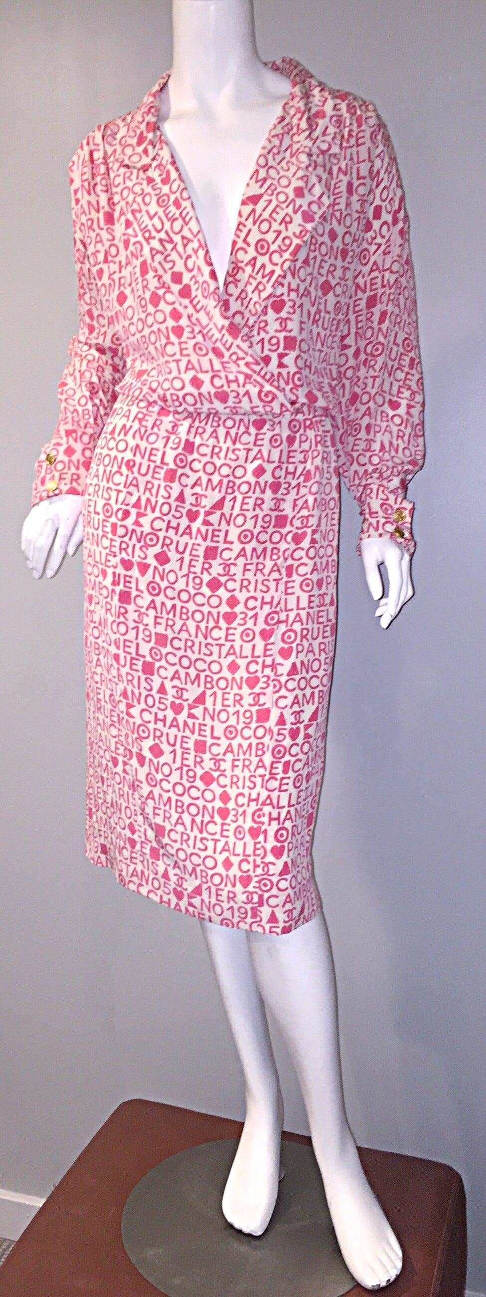 Rare Vintage Chanel Pink White Logo Graffiti Silk Shirt