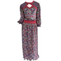 Vintage Diane Fres Butterflies + Flowers Keyhole Bohemian Maxi Dress