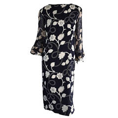 1960s Vintage Pauline Trigere Black + White Flower Dress w/ Billow Sleeves