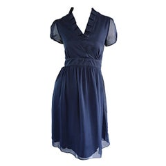 1990s Chloe by Karl Lagerfeld Vintage 90s Navy Blue Silk Chiffon Babydoll Dress