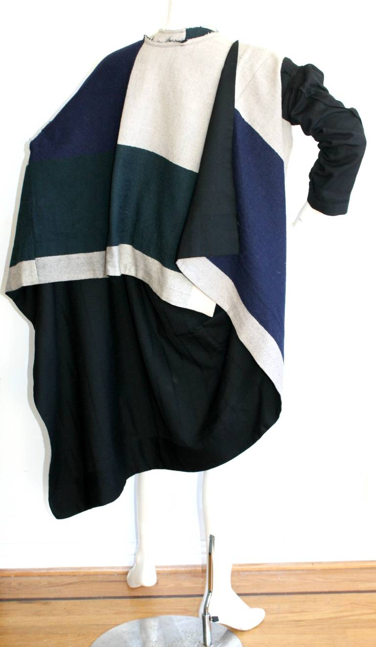 rare comme des garcons vintage patchwork blanket jacket poncho at 1stdibs. Black Bedroom Furniture Sets. Home Design Ideas