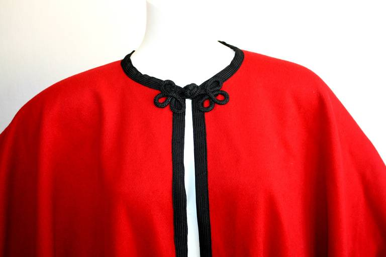 "YSL Yves Saint Laurent Vintage "" Russian Collection "" Red Opera Cape 2"