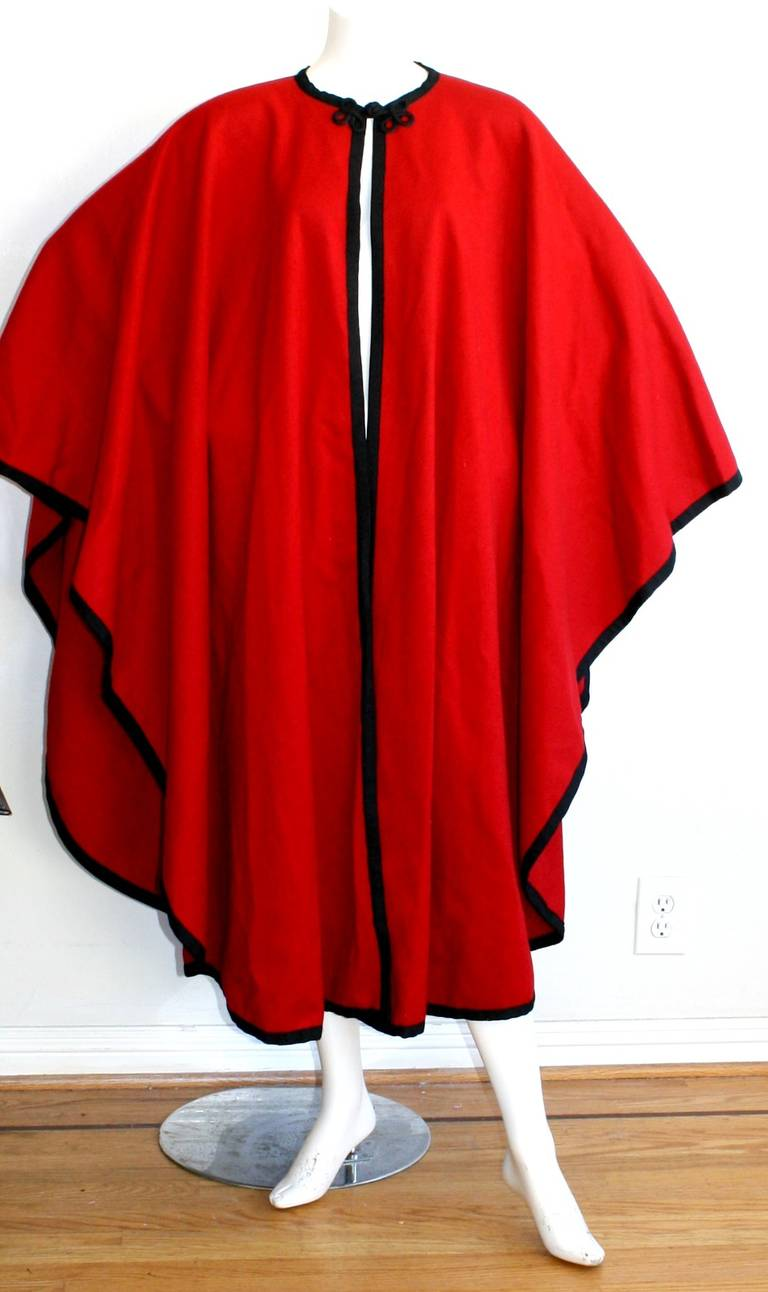 "YSL Yves Saint Laurent Vintage "" Russian Collection "" Red Opera Cape 4"