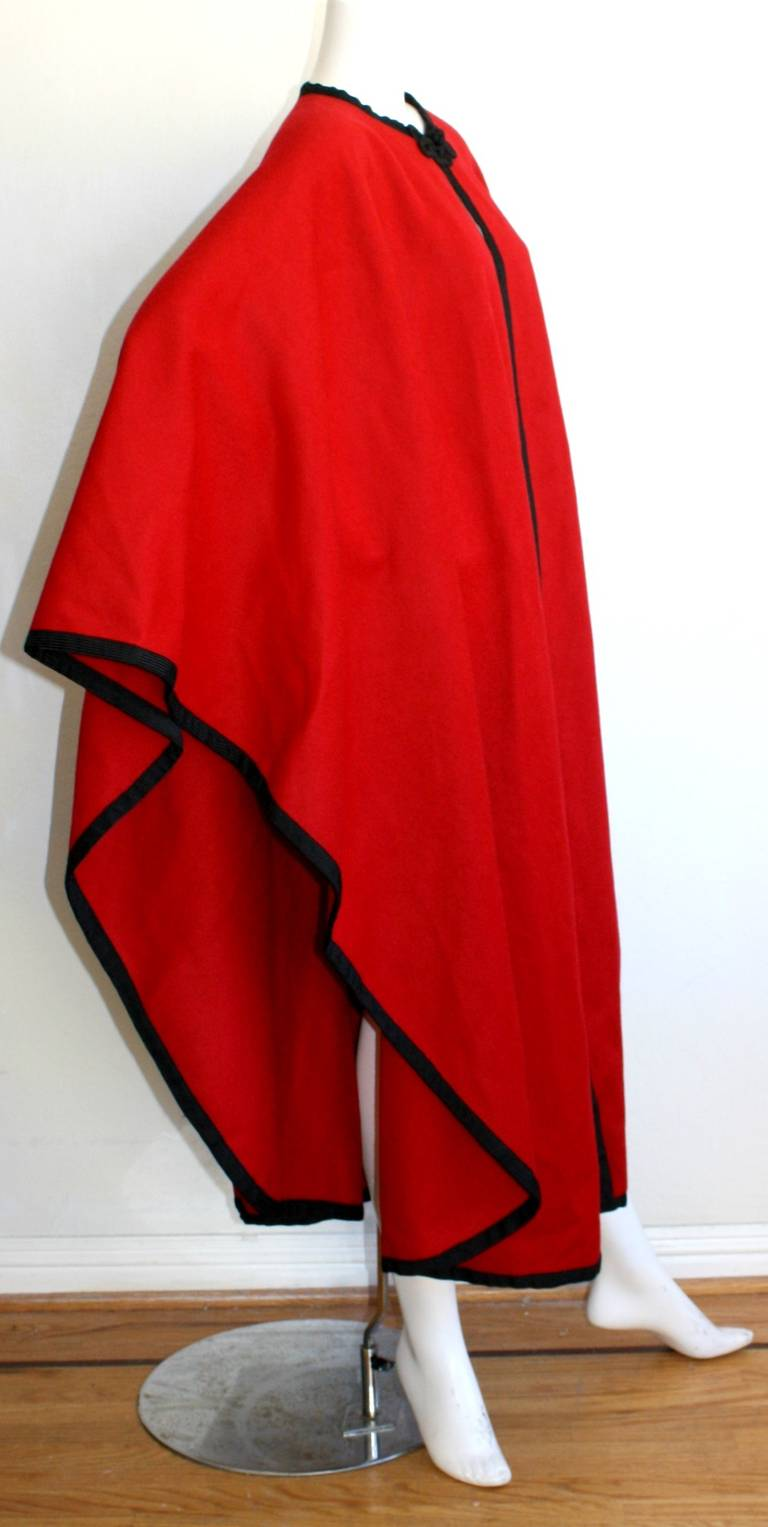 "YSL Yves Saint Laurent Vintage "" Russian Collection "" Red Opera Cape 3"