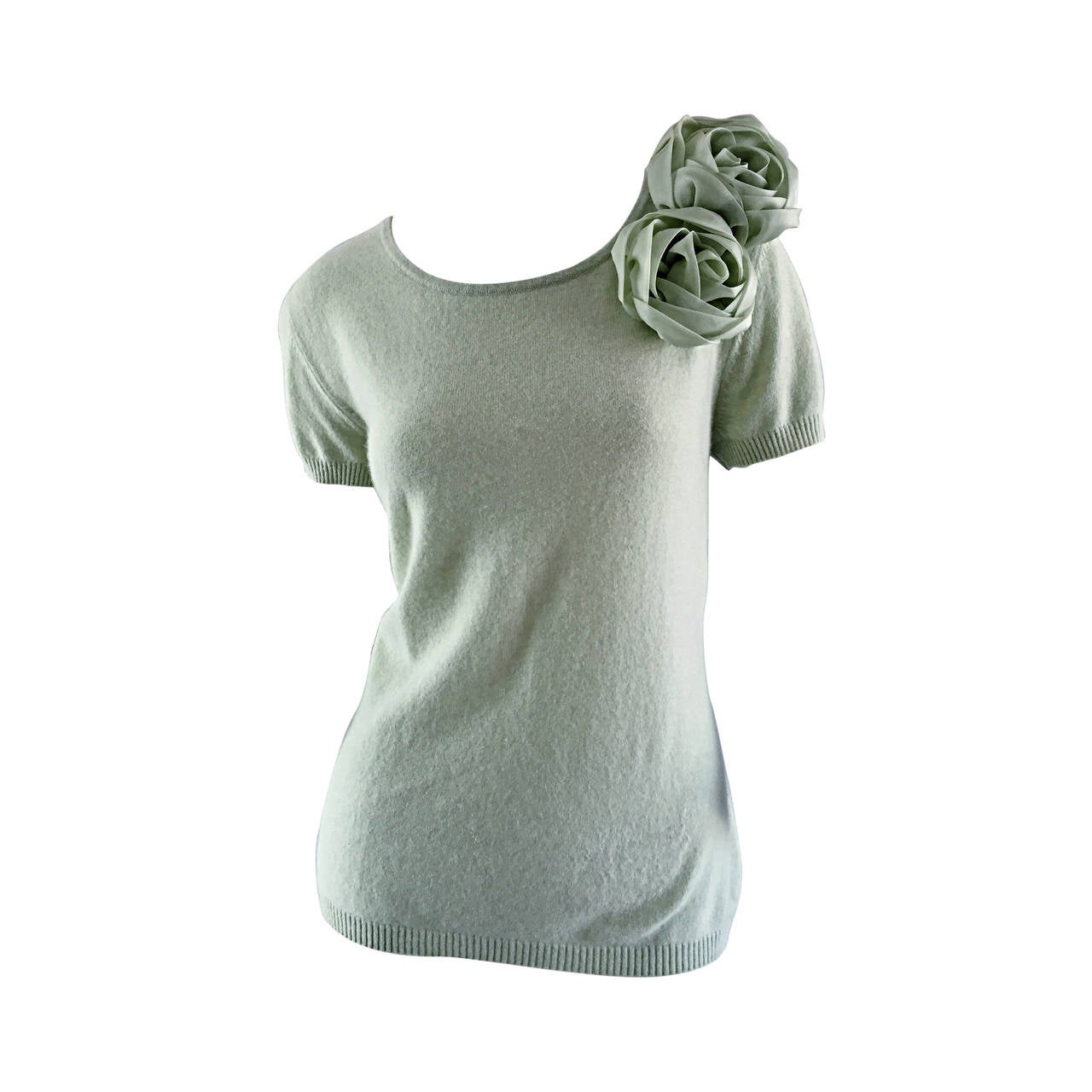 Escada Light Green Short Sleeve Cashmere Sweater w/ Rosettes + Flower Appliqués