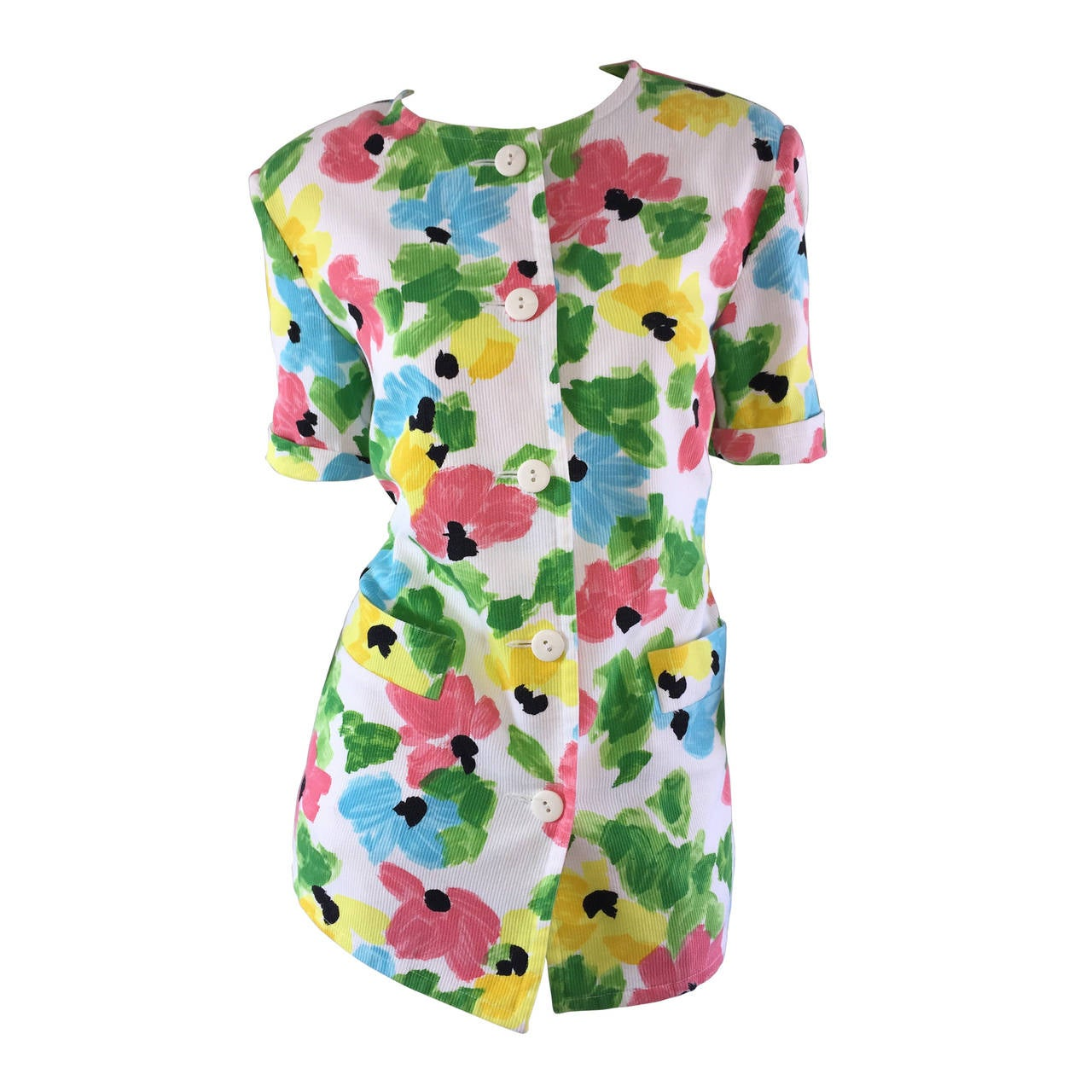 Vintage Courreges Floral Watercolor Short Sleeve Cotton Jacket For Sale