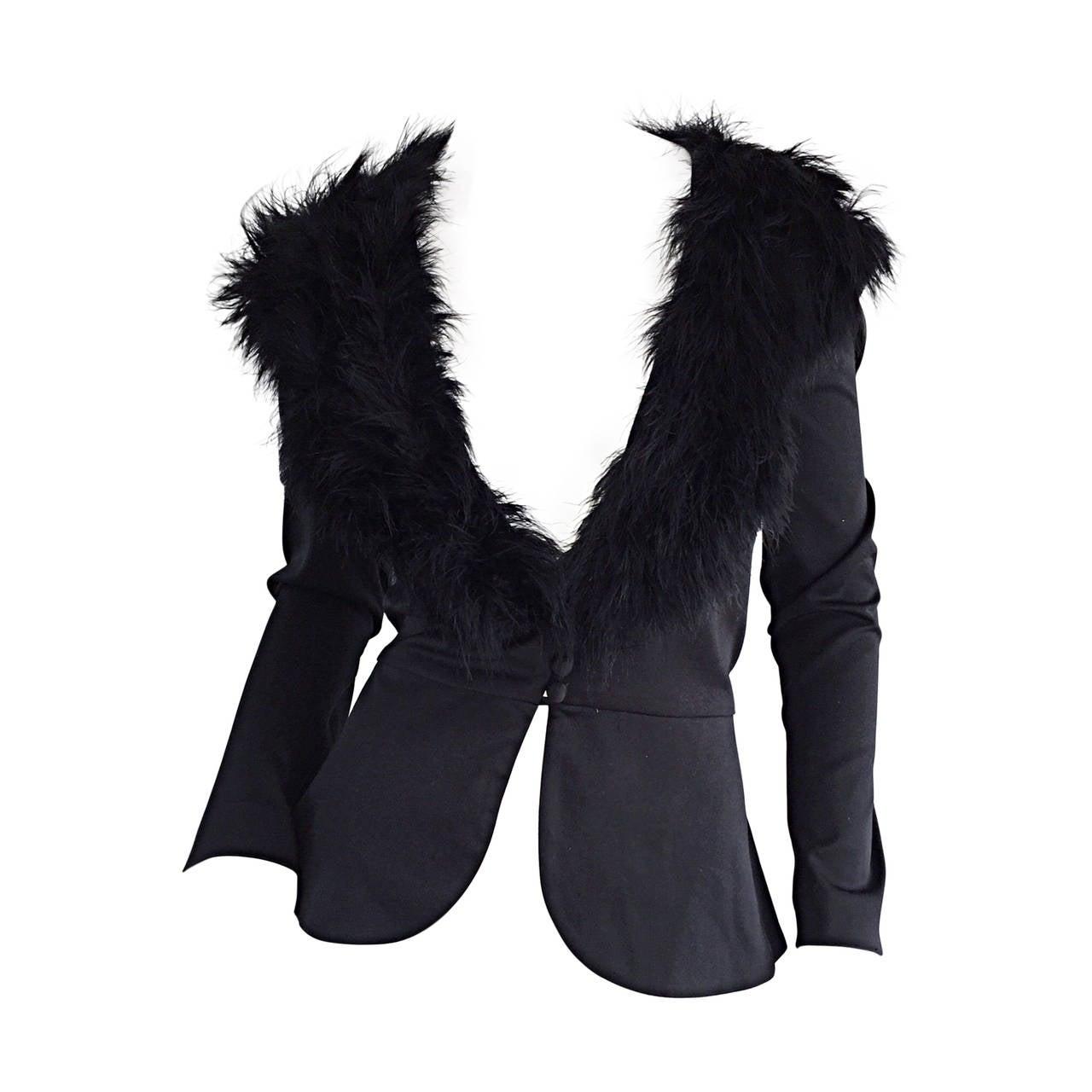 Sensational Vintage Lilli Diamond Black Feather Jacket Cardigan ...