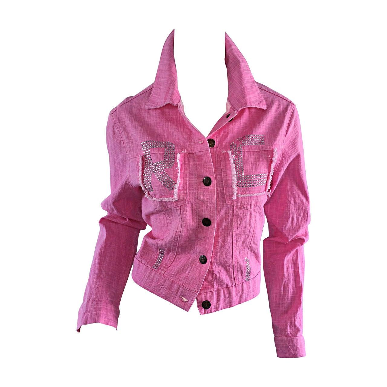1990s Vintage Roberto Cavalli Pink Denim Jean Jacket + ' R C ' Rhinestones 1