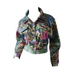 Vintage Baroque Style Made in France Colorful Playful Jean / Denim Jacket