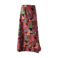 1970s Colorful Geometric Patchwork Houndstooth Vintage Cotton Maxi Skirt