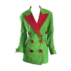 Incredible Vintage Gemma Kahng Green + Red Blazer w/ Gripoix Buttons