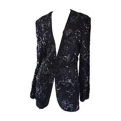 Beautiful Vintage Joanna Mastroianni Sequins and Lace Black Blazer Jacket
