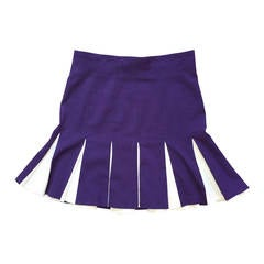 1990s Plein Sud High Waisted Purple + White Pleated Skirt - Made in France