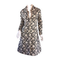 1960s Mollie Parnis Black + Gold Floral Silk Brocade Edwardian A - Line Dress