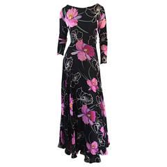 Beautiful Vintage La Mendola Silk Chiffon ' Hibiscus ' Dress ' Made in Italy'
