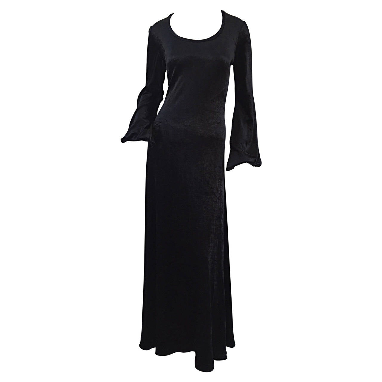 "Rare "" Alley Cat "" by Betsey Johnson 1970s Black Velveteen Billow Sleeves Dress"