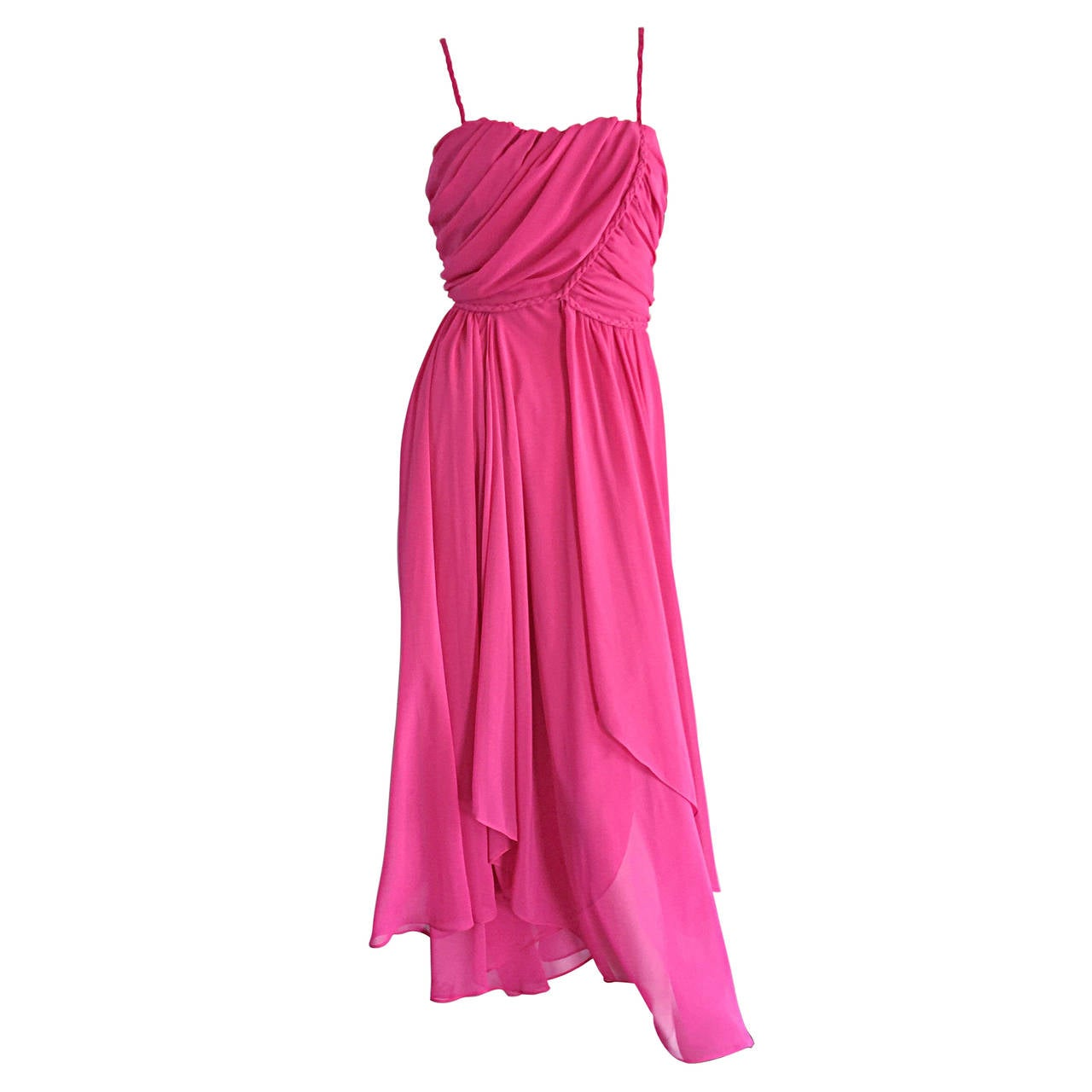 1970s Joy Stevens Hot Pink Vintage Flowy Grecian Disco Dress w/ Braided Details 1