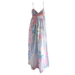 Vintage Mary McFadden for I. Magnin Cotton Maxi Dress Peignoir Set