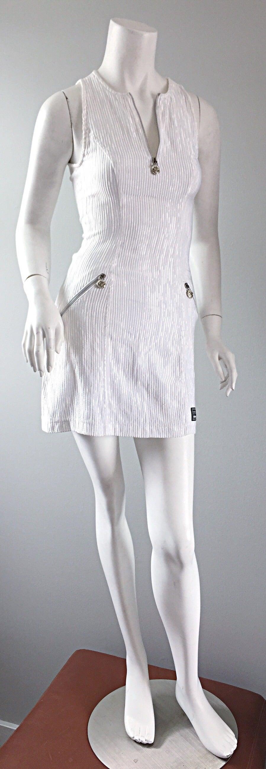 Vintage Gianni Versace White Ribbed BodyCon Scuba Dress Medusa + Rhinestones 5