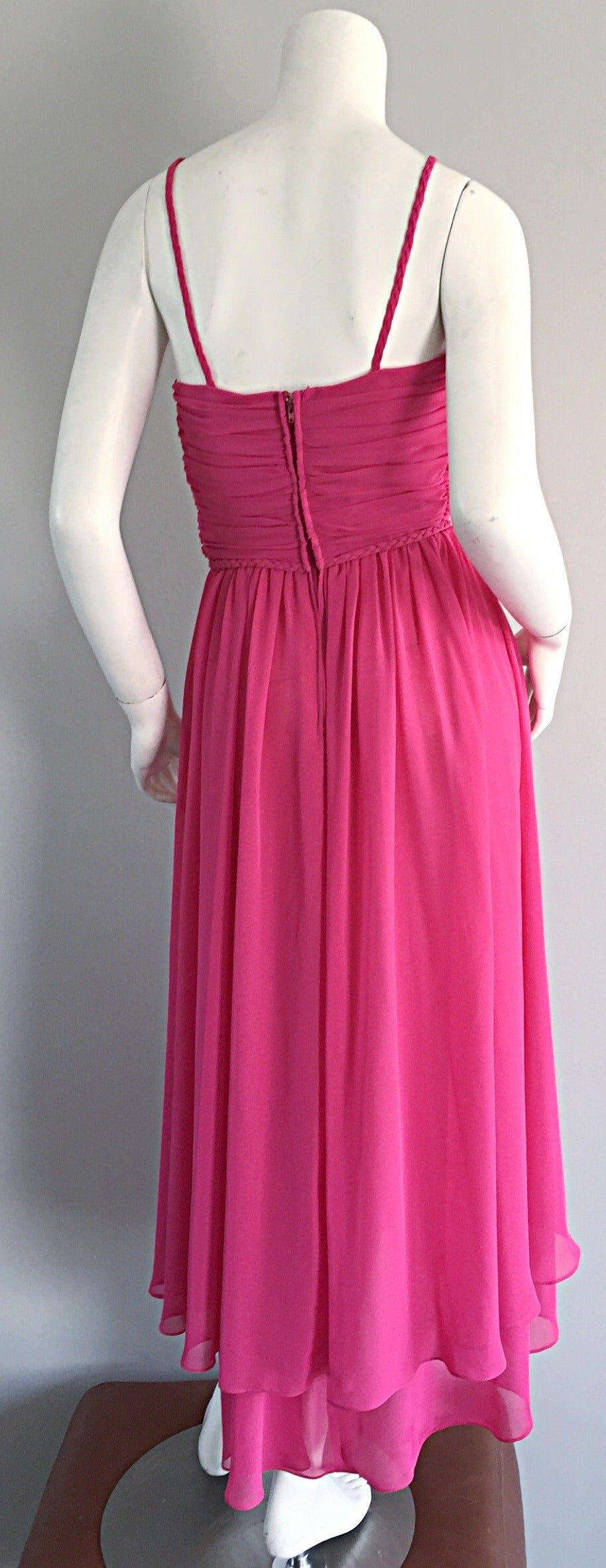 1970s Joy Stevens Hot Pink Vintage Flowy Grecian Disco Dress w/ Braided Details 4