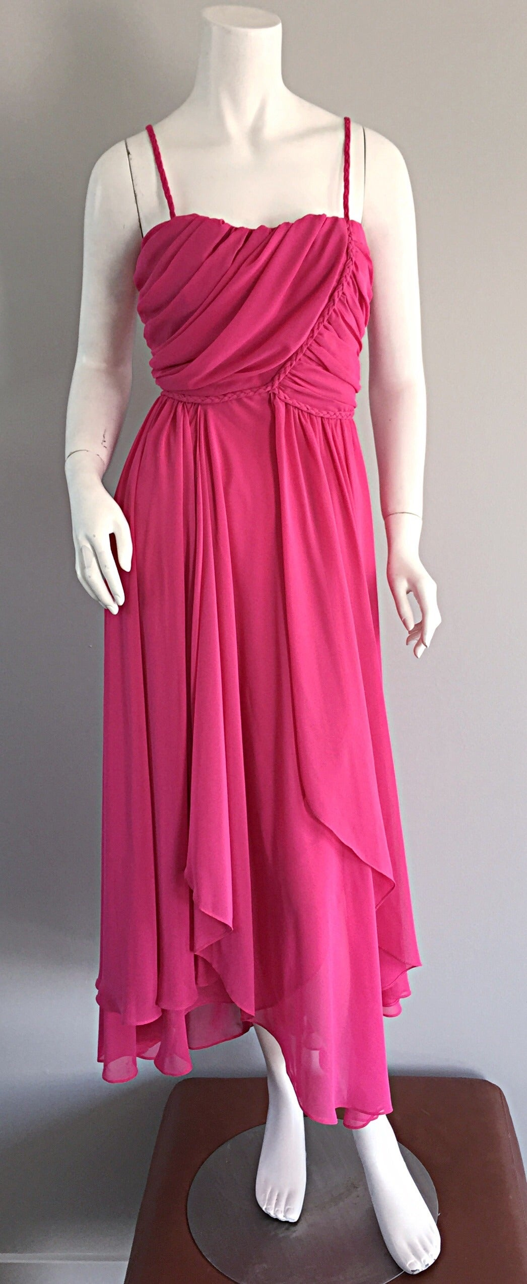 1970s Joy Stevens Hot Pink Vintage Flowy Grecian Disco Dress w/ Braided Details For Sale 1