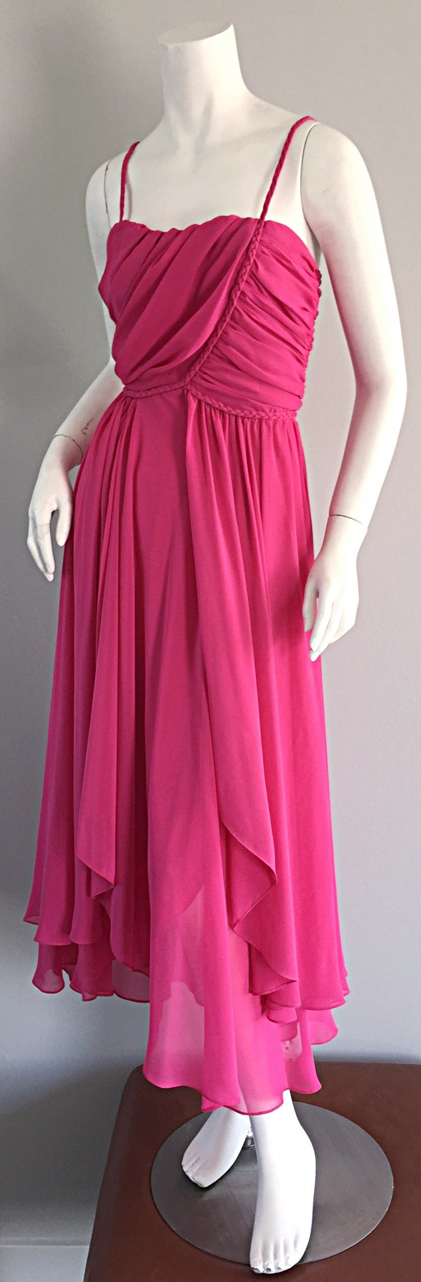 1970s Joy Stevens Hot Pink Vintage Flowy Grecian Disco Dress w/ Braided Details For Sale 2