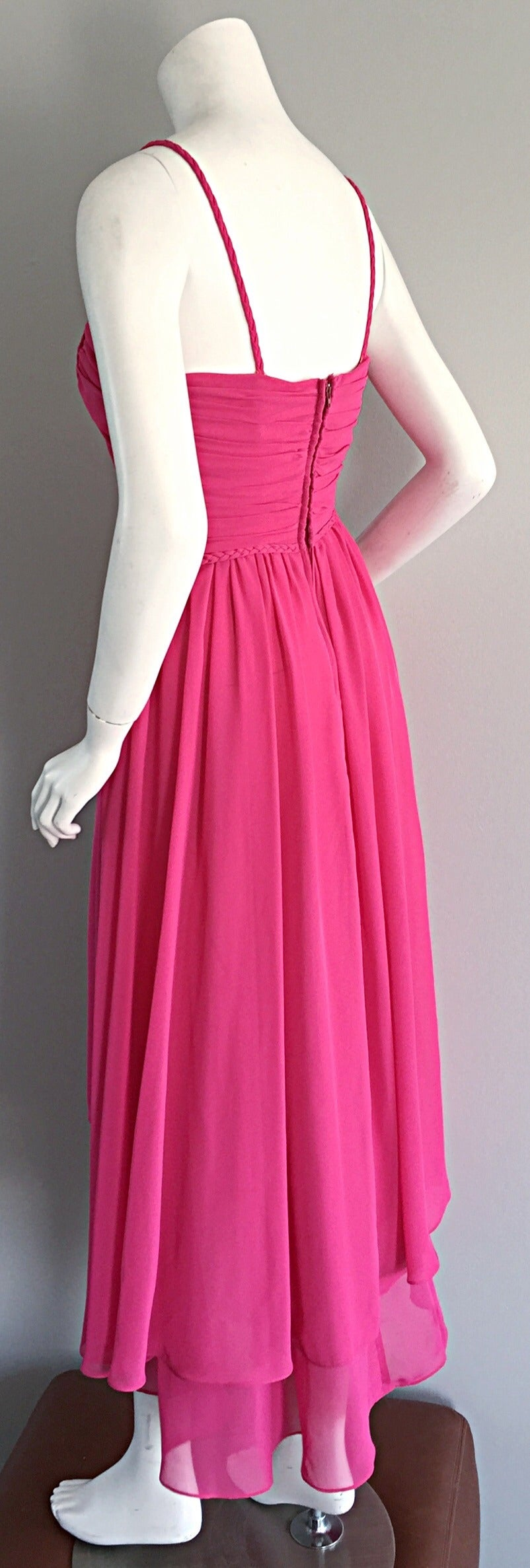 1970s Joy Stevens Hot Pink Vintage Flowy Grecian Disco Dress w/ Braided Details For Sale 3