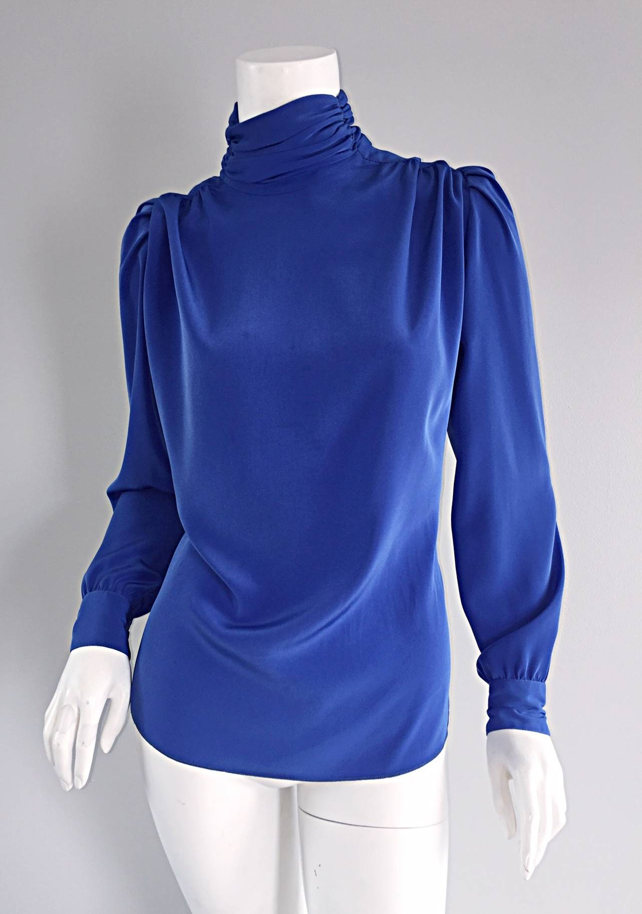 St. John Blue Silk Vintage Secretary Shirt Blouse w/ Puff Sleeves 2